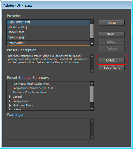 which adobe pdf preset option use indesign printing